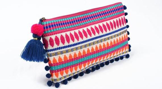 Boho Multicolour Pouch Moroccan Clutch With Pompom Lace Etsy Linen Bag Dobby Fabric Velvet Bag Clutches