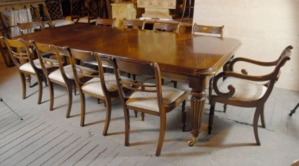 9 Ft English Victorian Dining Table 10 Regency Chairs Dining