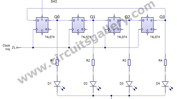 Ring Counter Circuit Working Principle With Animation And Video Gallery Of Electronic Circuits And Projects Electronics Circuit Circuit Diagram Simple Circuit