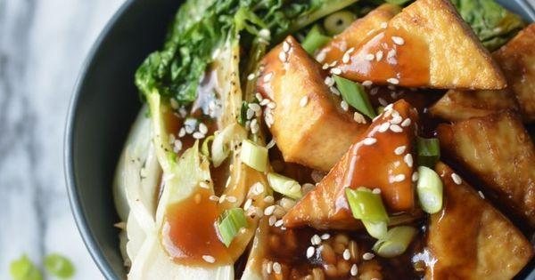 Vegan Crispy Baked Tofu Teriyaki Bowl, with Rice, Bok Choi, Spring Onions