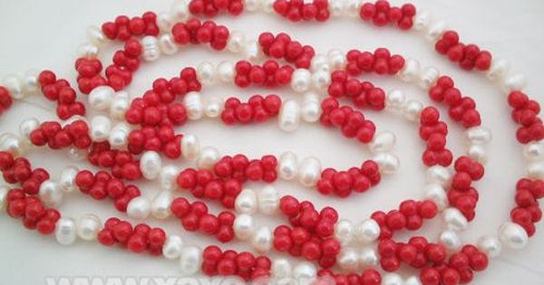 Red Coral Peanut Shape Necklace