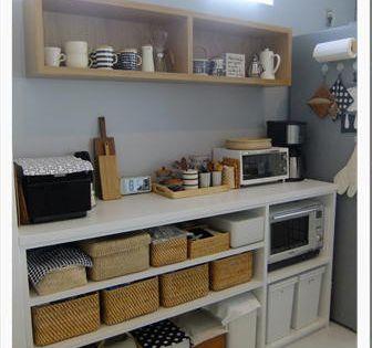 キッチンの収納 3 背面オープン収納棚 小さなキッチンデザイン キッチン 背面収納 キッチンデザイン