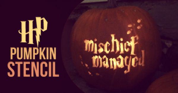 Harry Potter pumpkin carving stencil, \