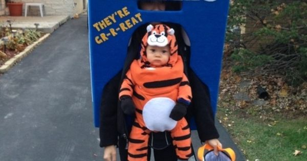 Tony the Tiger on a Frosted Flakes box Parent Baby Costume