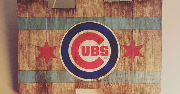 Chicago Cubs Small Wooden Stained Flag By