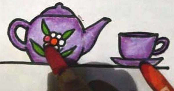 Cara Menggambar Cangkir Dan Teko Cara Menggambar Gambar Anak