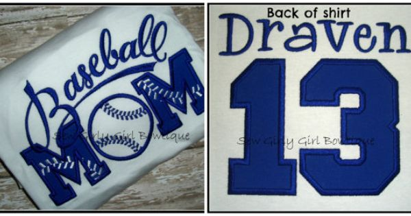 Appliqued Embroidered Baseball Mom Shirt Front And Back Number Kids Name Team Any Size Any Color Baseball Mom Shirts Baseball Mom Sports Mom