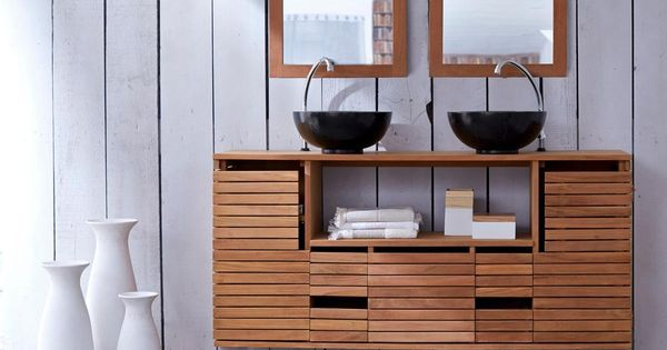 meuble suspendu en teck 145 slats tikamoon prix meuble salle de bain 3 suisses 1 3. Black Bedroom Furniture Sets. Home Design Ideas