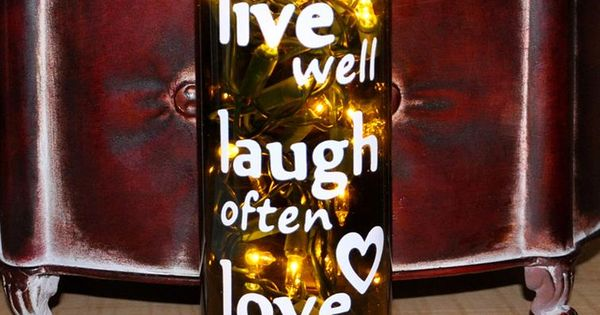 Unique Father's Day Gift Lighted Wine Bottle Light Lamp Live Well Laugh