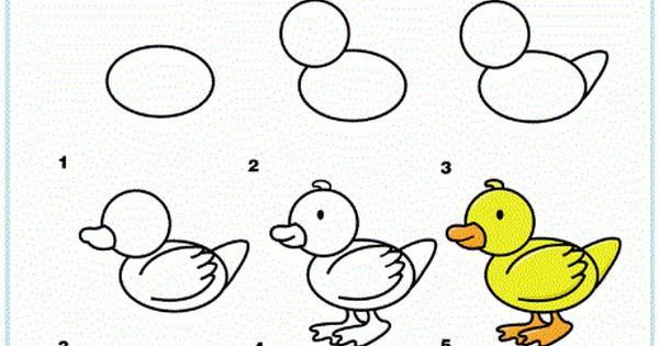 تعليم الطفل طريقة رسم بطة بالصور Drawing For Kids Easy Heart Drawings Cool Drawings