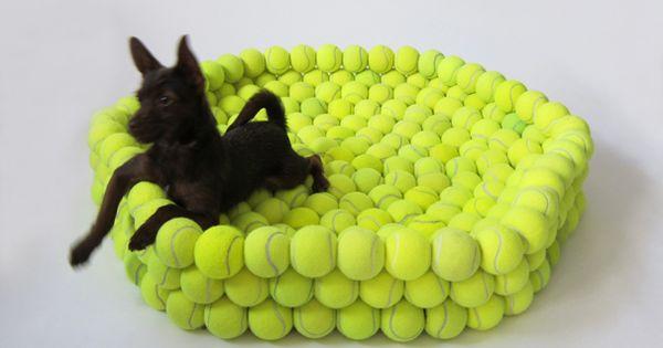 Tennis ball dog bed made from recycled tennis balls - Mattress made of balls ...
