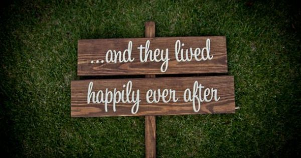 "Rustic Wedding Signs, ""...and they lived happily ever after"" - spring summer"