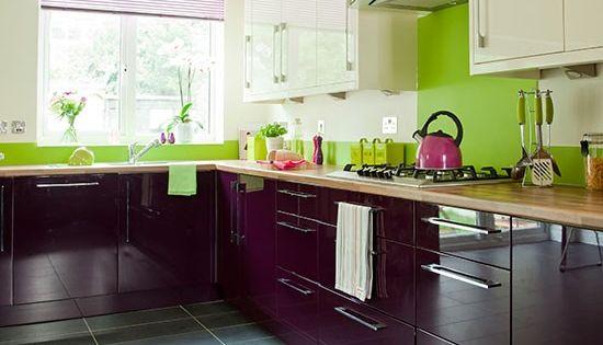Aubergine and cream kitchen kitchens kitchen blinds and for Aubergine kitchen cabinets