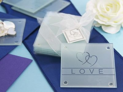 4 Pack Heart Glass Coasters Wedding Gift Boxes Wedding Favors