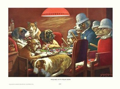 Pinched With Four Aces By Cassius Marcellus Coolidge Dogs Playing Poker Dog Art Dogs Playing Pool