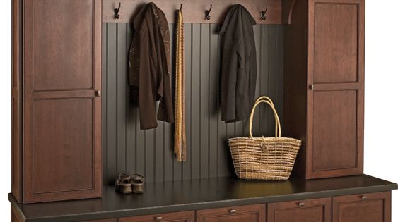Mudroom: Love this locker system with the bench seating, the deep drawers