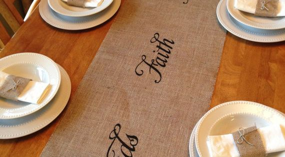 Burlap Table Runner 14 x 84 by CreativePlaces on Etsy, $16.00. DIY