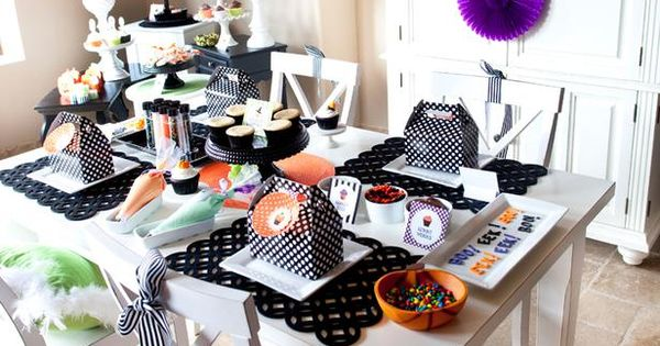 Throw a Halloween Cupcake-Decorating Party: Black and orange party decor is easy
