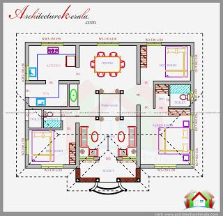 3 Bedroom House Plan In 1200 Square Feet Eith Nalukettu Style House Design Beautiful Courtyard Plan Square House Plans Model House Plan 1200 Sq Ft House