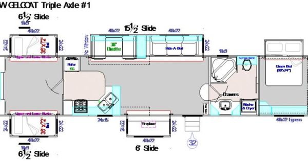 45 Foot Fifth Wheel 5 Slide Outs Corner Kitchen
