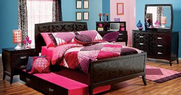 black bedroom set for a teen girl bedroom. I'd