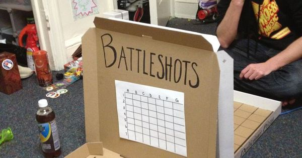 Drinking Games - Battleshots... aka Battleship played on empty pizza boxes with