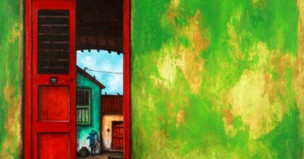 red and green door