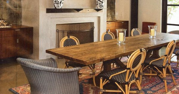 LOVE The Details Of This Dining Room Persian Rug Blue And White Porcelain Some Rustic