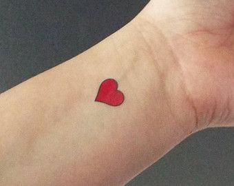 Popular Items For Red Heart Tattoo On Etsy Red Heart Tattoos Heart Tattoo Wrist Little Heart Tattoos