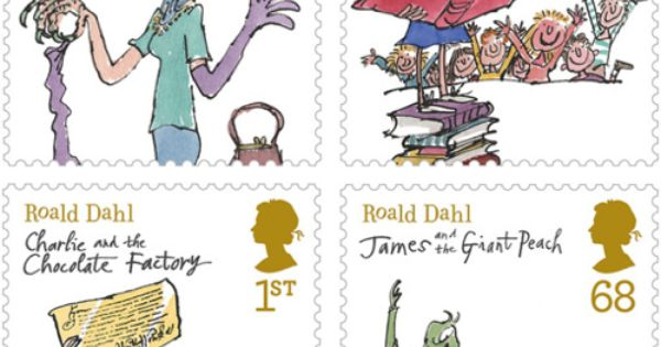 cute stamps based on Roald Dahl book illustrations
