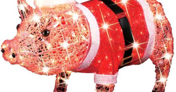 December Home Pink Pig With Santa Dress Outdoor Decoration