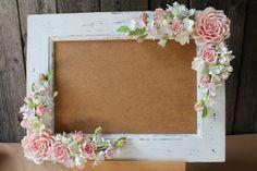 Wedding Frame For Wedding Photo Polymer Clay Flower Clay Flowers Polymer Clay Flowers Flower Picture Frames