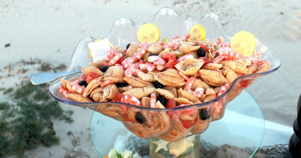 Beach Wedding, Food, Shrimp Pasta