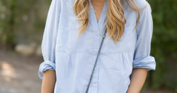 chambray top and distressed boyfriend shorts