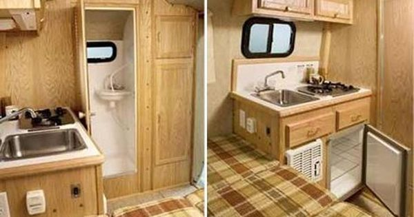Scamp 13 Small Travel Trailer Interior Deluxe Model Bathroom And Kitchen Small Travel Trailers Travel Trailer Reviews Travel Trailer Interior