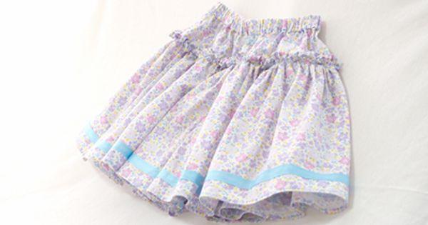 紫小花のフリルキュロット1 jpg ファッションアイデア 子供 服 ハンドメイド キッズ 服