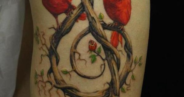 - Tree Branch Treble Clef with red Love Birds - Music Tattoo