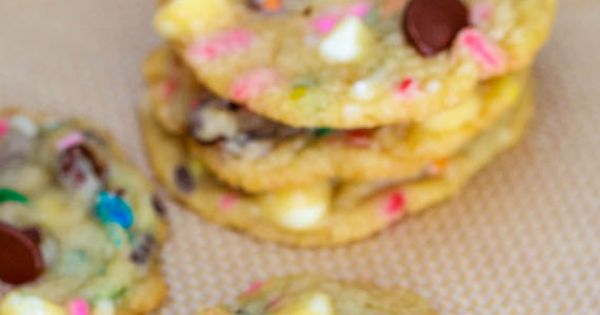 Cake Batter Chocolate Chip Cookies- seems too sweet. Would omit the chocolate