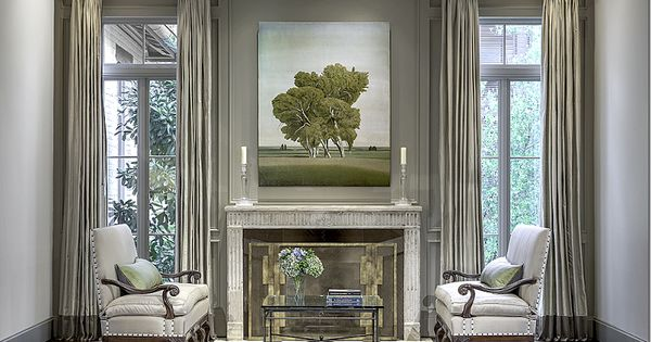 Lucas Eilers Design Assoc Houston Contemporary Fire Screen Antique Settees Lovely Painting