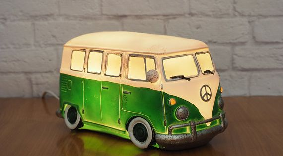 Retro VW Bus Night Light Novelty Lamp Green and White Retro, Night and Vw bus