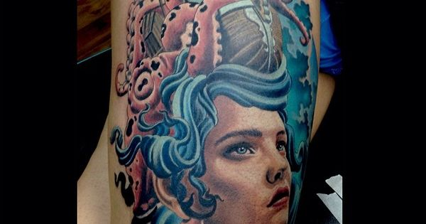 Pirate Ship Girl Octopus Portrait Tattoo By Jacob Rutz