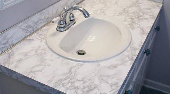 Update Countertop Self Adhesive White Marble Granite Film Not Grandma S Vinyl Film Or Paint Thicker Wider Waterproof Durable Countertop Makeover Contact Paper Countertop Bathroom Countertops