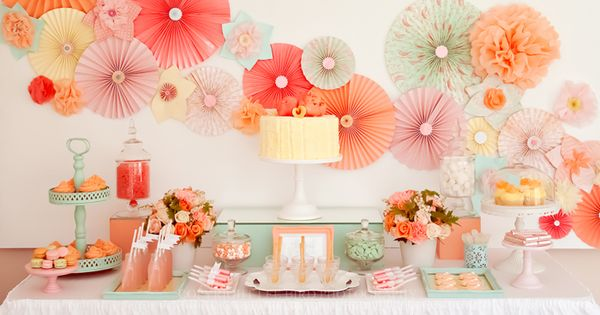 Pretty dessert table with pinwheel decor