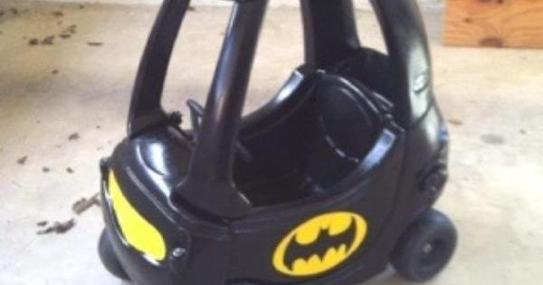 Cozy Coupe turned Bat Mobile.. My future kid is getting a batmobile.