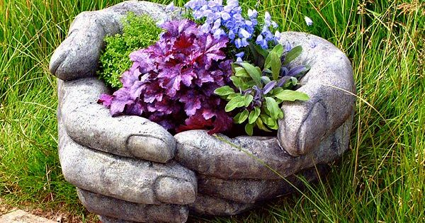 Stone Cupped Hands nice flower pot