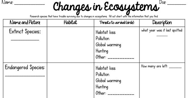 changes in ecosystems science pinterest worksheets and teaching science. Black Bedroom Furniture Sets. Home Design Ideas