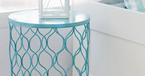 Spray paint trash can, flip, instant side table! Would be good in