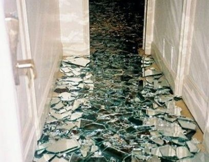 This is awesome lay a mirror down take a hammer to it for Glass floor mirror