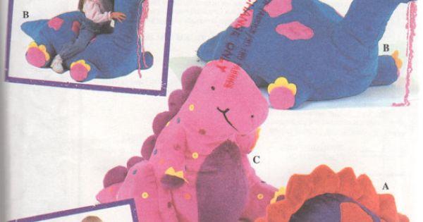 Simplicity 8791 Designer Dinosaur Floor Toy Pillow Pattern Large Stuffed Animal Sewing Pattern ...