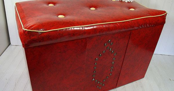 Retro Red Ivory Vinyl Storage Hassock Coffee Table